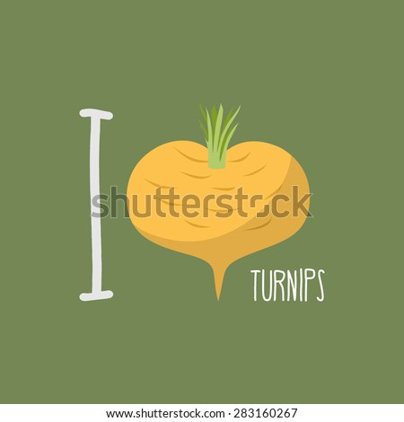 I love turnips.  heart of yellow turnips. Vector illustration - stock vector