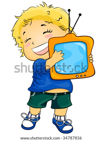 I love TV - Vector - stock vector