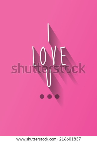 I love u typo with shadow vector, wedding theme - stock vector