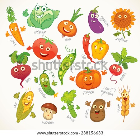 I love vegetables. Funny cartoon character. Vector illustration. Isolated on white background. Set - stock vector