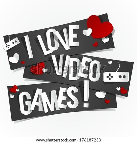 I Love Video Games Banners vector illustration - stock vector