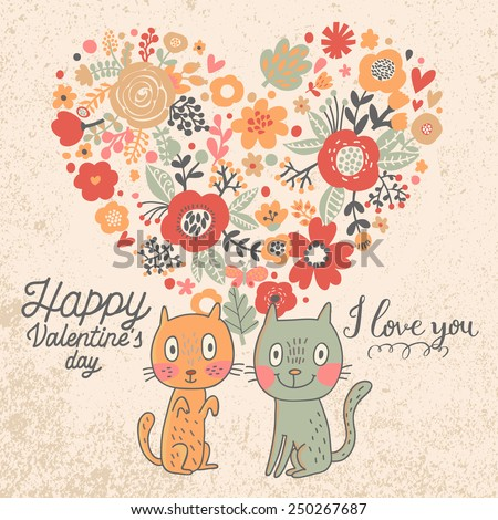 I love you - concept happy Valentine's day card in vector. Cute Save the Date invitation in vector. Funny cats and stylish heart made of poppy flowers - stock vector