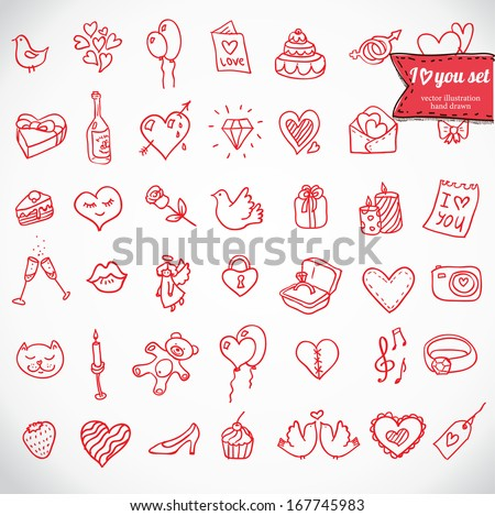 I love you doodle icon set isolated, vector illustration hand drawn - stock vector