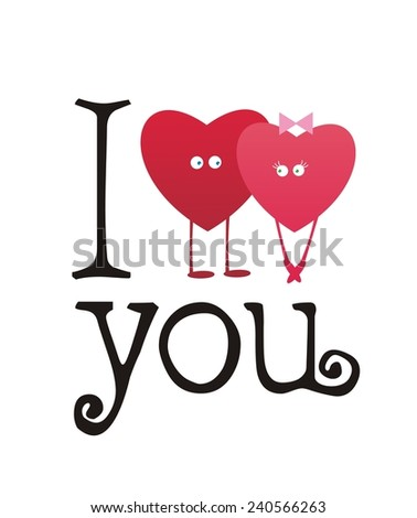 I love you. Gift card. Valentine's Day. Vector illustration. - stock vector