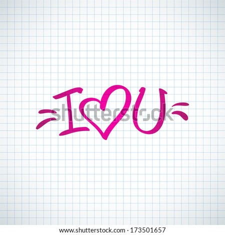 i love you, handwritten abbreviated text with heart shape - stock vector