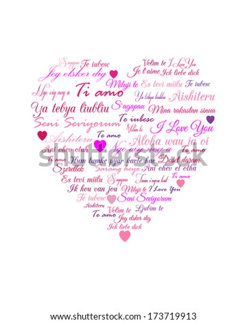 I love you in different languages - stock vector