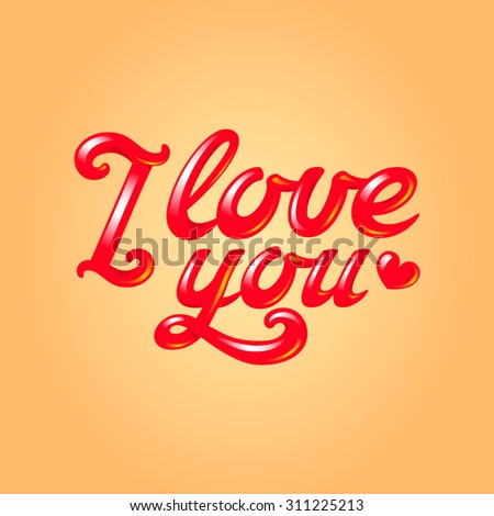 I love you inscription with red heart silhouette, 3d glossy hand lettering - stock vector