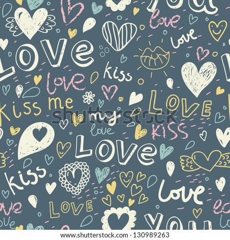 I love you. Kiss me. Romantic concept seamless pattern. Love elements in one background in vector - stock vector