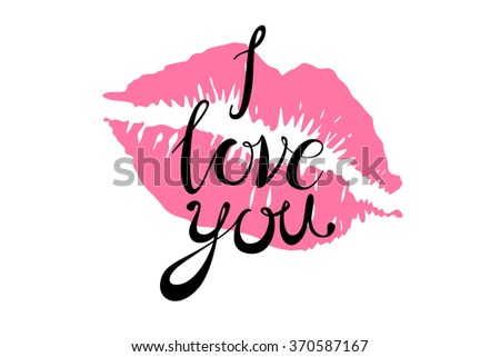 i Love you kiss red lips vector pink art - stock vector