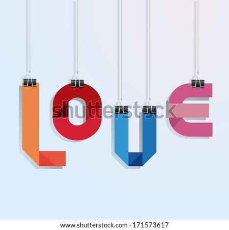 i love you paper with clip vecrot - stock vector