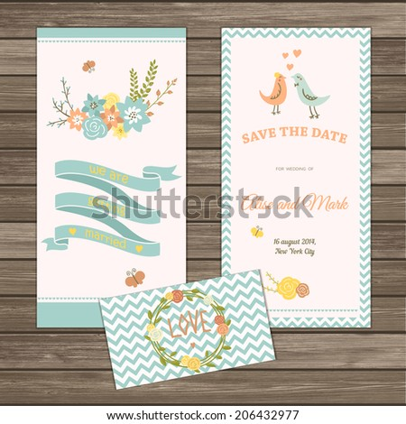 I love you retro style card, save the date cards, two side. Cute chevron background and hand drawn flowers bouquet and ribbons. Card template on wood background - stock vector