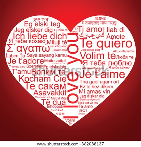 I love you tag cloud the shape as a heart, vector - stock vector