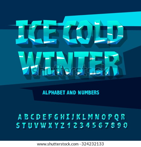 Ice alphabet and numbers, vector illustration. - stock vector
