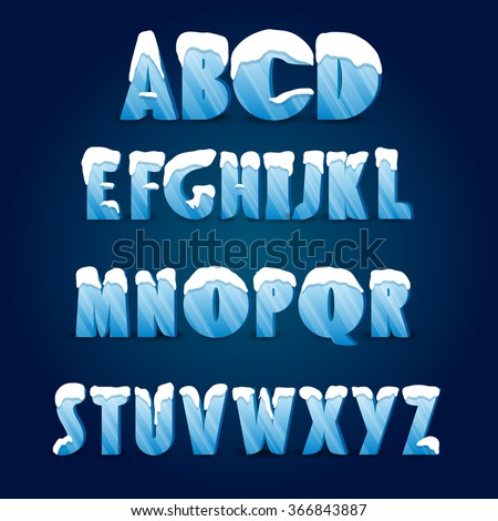Ice alphabet. Collection of ice letters with snow caps.  - stock vector
