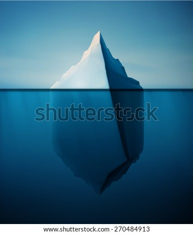 Ice berg on water concept vector background, eps 10 - stock vector