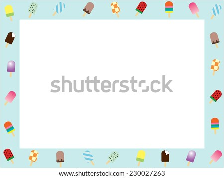 Ice candy bar horizontal frame, vector illustration - stock vector