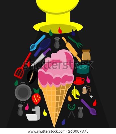 ice cream and icon - stock vector
