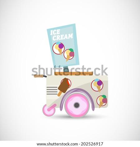 ice cream cart - vector illustration - stock vector
