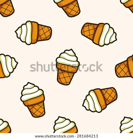 ice cream cartoon , cartoon seamless pattern background - stock vector