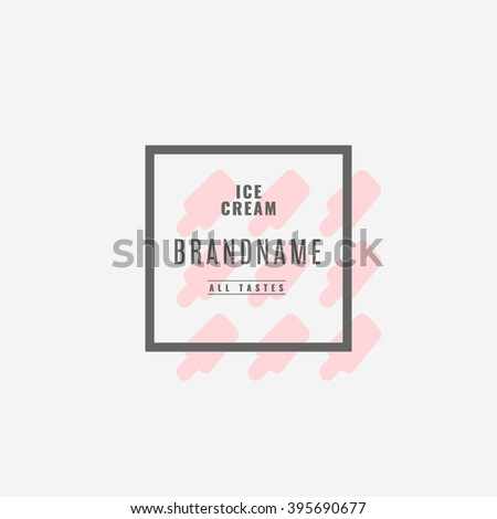 Ice cream Hand Drawn Design Element in Vintage Style for Logotype, Label, Badge and other design. Ice cream shop retro vector illustration. - stock vector