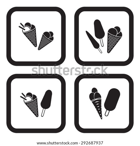 Ice cream icon in four variations - stock vector