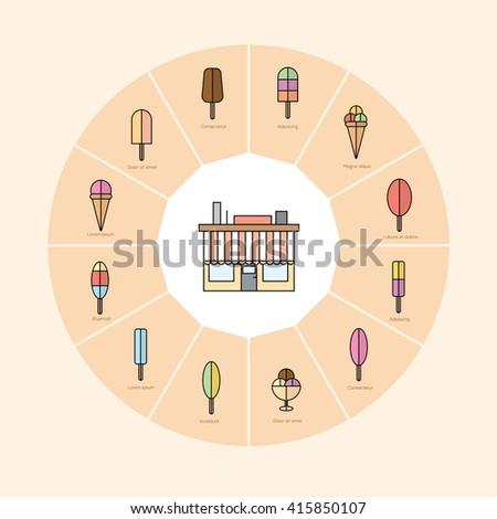 Ice Cream Infographics Vector illustration Flat Line Art  - stock vector