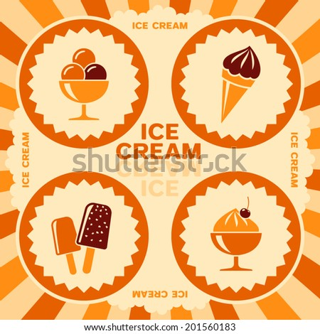 Ice cream label design with color icons - stock vector