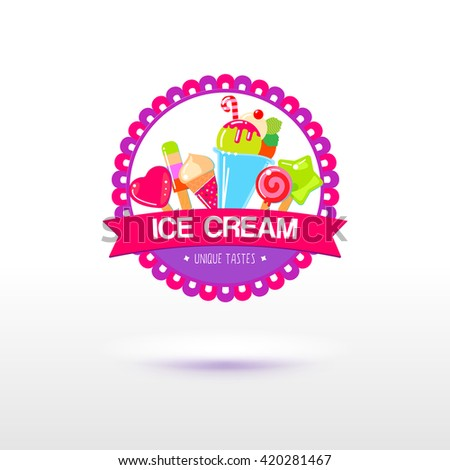 Ice cream logo for shop and packaging design. Sign for the fruit ice store. Different types of ice cream. Flat vector. - stock vector