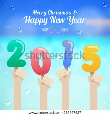 ice cream number with hand up on merry christmas and happy new year 2015 concept vector - stock vector