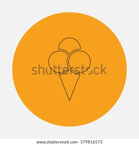 Ice cream Outline vector icon on orange circle. Flat line symbol pictogram  - stock vector