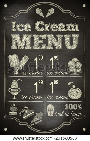 Ice Cream Poster on Chalkboard. Vector Illustration. - stock vector