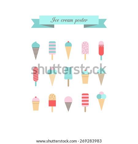 Ice cream poster. Retro style. Vector. - stock vector
