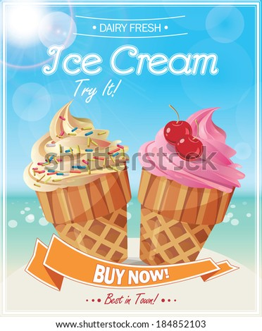 Ice Cream Poster. Vector illustration. - stock vector