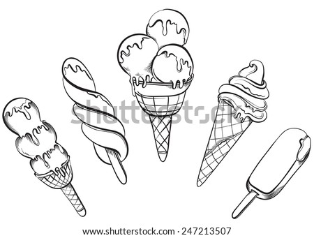 Ice Cream Set. Hand drawn vector illustrations - stock vector