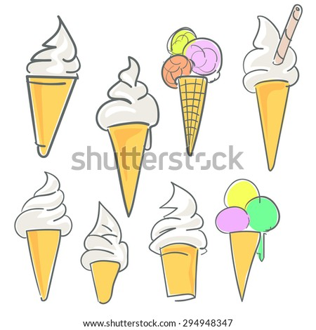Ice cream set or collection in color - stock vector
