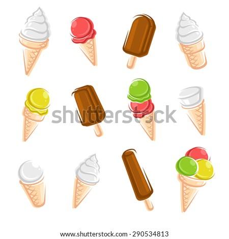 Ice cream set. Vector - stock vector