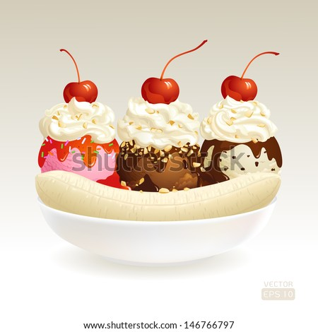 Ice cream sundae, Banana Split with chocolate sauce / topping almond and cherry. - stock vector