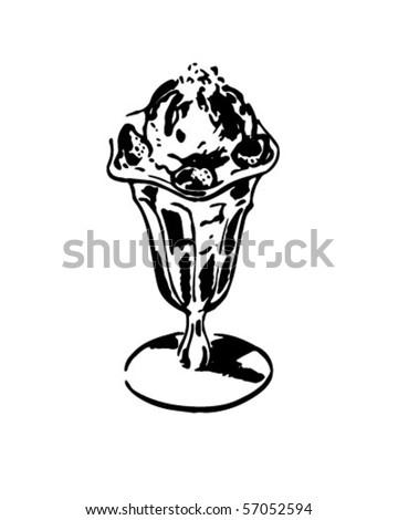 Ice Cream Sundae - Retro Clip Art - stock vector