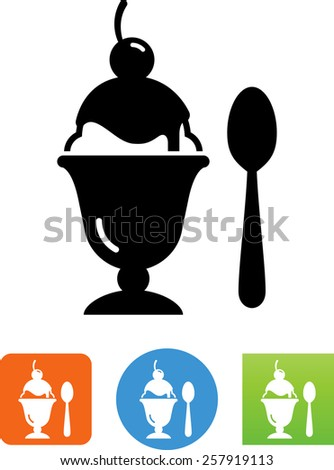 Ice cream sundae symbol for download. Vector icons for video, mobile apps, Web sites and print projects. - stock vector