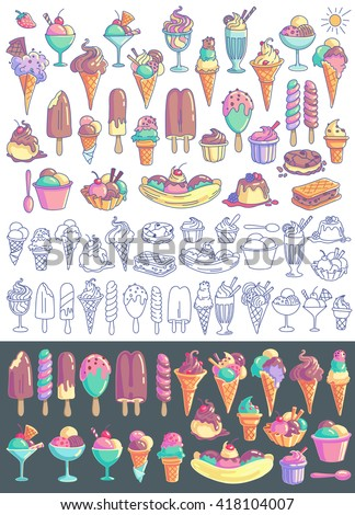 Ice cream vector set. Snow cone, icecream sandwich, banana split, milkshake, sorbet, sundae, gelato, frozen yogurt, scoop. Line art and colorful drawings isolated on background - stock vector