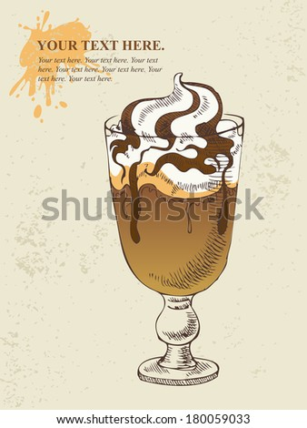 Ice cream with coffee cocktail in glass - stock vector