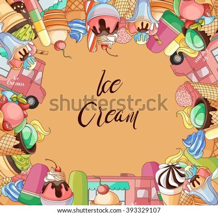 Ice creams collection - stock vector