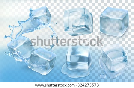 Ice cube, vector set with transparency - stock vector