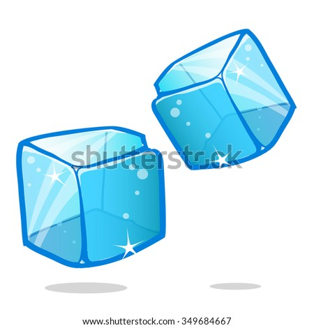 Ice cubes and melted ice cube vector set on white background - stock vector