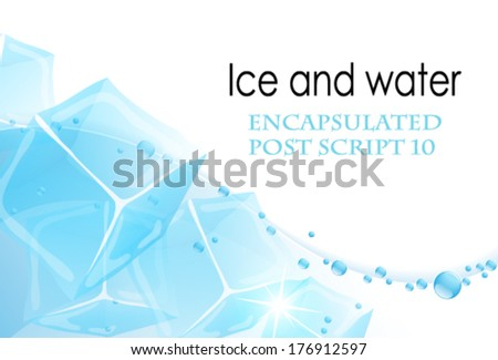 Ice cubes in a clear water - stock vector