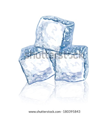 Ice cubes isolated on white photo-realistic vector illustration - stock vector