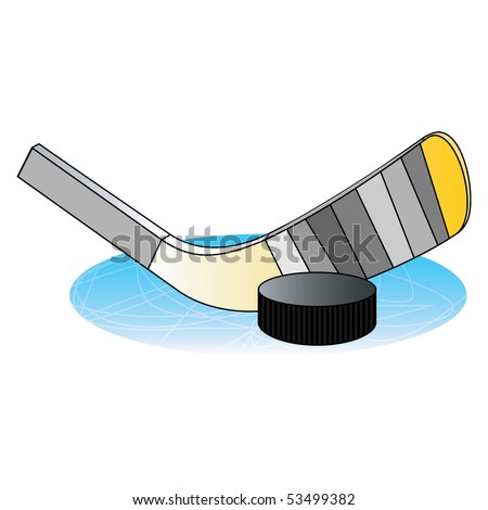 Ice hockey cartoon with stick and washer. Vector illustration. - stock vector
