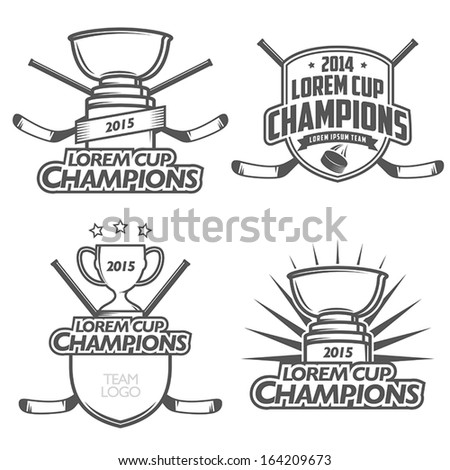 Ice hockey cup champions labels, badges and design elements - stock vector