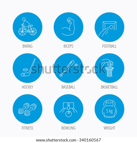 Ice hockey, football and basketball icons. Fitness sport, baseball and bowling linear signs. Biking, weightlifting icons. Blue circle buttons set. Linear icons. - stock vector