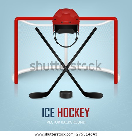 Ice hockey helmet, hockey puck, sticks and goal. Vector EPS10 background.  - stock vector